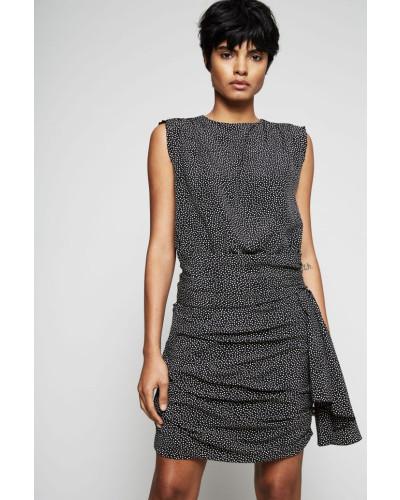 Seidenkleid mit Tupfen-Print Schwarz/Weiß