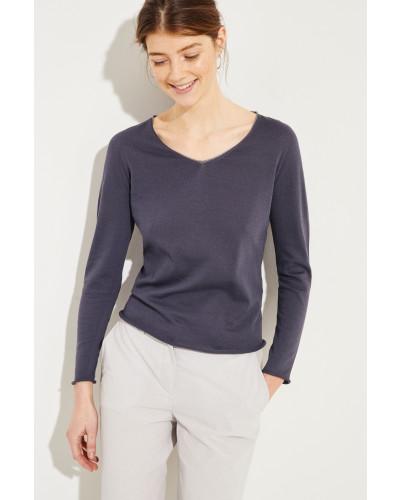 Baumwoll-Pullover mit Lurexdetails Grau- Pullover in Anthrazit - O-Ausschnitt mit Lurexdetails in Silber - Lange Ärmel mit Rollsäumen - Schmale Silhouette - Rollsaumkante - Auf Gesäßhöhe endend Größe des Models: 179cm Material 1: -