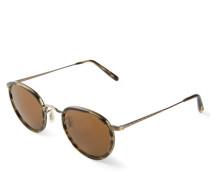 Runde Sonnenbrille 'Vintage' in Hornoptik Gold/Braun