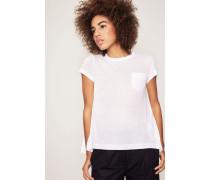 T-Shirt mit plissiertem Rückenteil Weiß