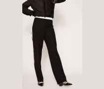 Hose mit weißem Streifen-Detail Schwarz
