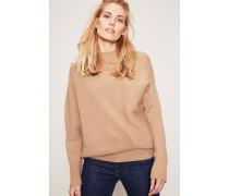 Asymmetrischer Woll-Pullover Puder