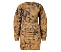 Jacquard-Brokat-Kleid mit Kristall-Knöpfen