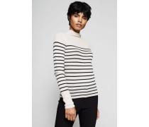Feines Rippstrick-Shirt mit Streifen-Print Beige/Schwarz