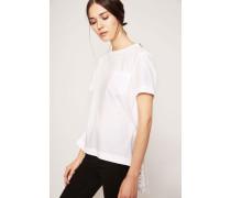 T-Shirt mit rückseitig plissiertem Spitzen-Detail Weiß