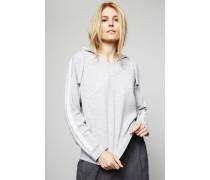 Cashmere-Pullover mit Kapuze Grau
