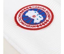 Strickmütze mit Logo-Patch Weiß