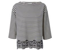 Oversize-Shirt mit Lochstickerei Navy/Weiß