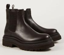Leder-Boots mit Perlenapplikation Braun