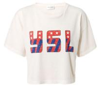 Kurzes T-Shirt mit Initialien Rosé/Multi