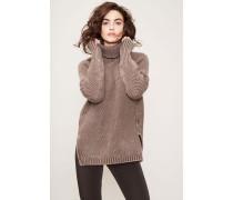 Rollkragen-Pullover Wolle-Cashmere Braun