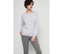 Oversize Baumwoll-Cashmere Pullover Hellgrau