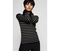 Feines Rippstrick-Shirt mit Streifen-Print Schwarz/Beige