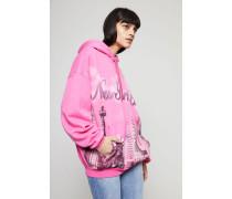 Oversized Hoodie mit Aufdruck Pink