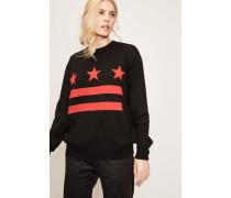 Strickpullover mit Streifen und Sternen Schwarz/Rot