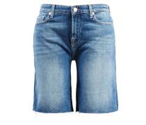 Jeans-Shorts mit ausgefranstem Saum Mittelblau