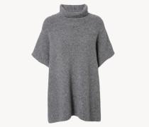 Weites Woll-Rollkragencape Grau