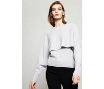 Zweilagiger Cashmere Pullover Grau