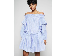 Gestreiftes Baumwollkleid Blau/Weiß