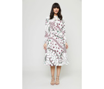 Kleid mit Allover-Print und Bindeelement Multi