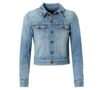 Kurze Jeansjacke mit rückseitigem 'Love'-Patch Blau