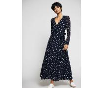 Maxi-Kleid mit Polkadots 'Marceau Georgette' Marineblau