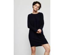 Cashmere-Seiden-Kleid mit Glitzereffekt Navy