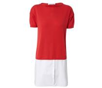 Pullover mit Blusen-Element Rot