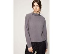Leichter Rollkragen-Pullover mit Perlenstrick-Muster Asphalt