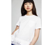 T-Shirt mit plissiertem Saum Weiß