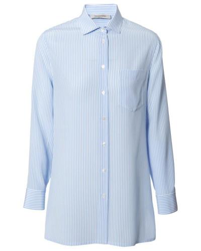 Gestreifte Seiden-Bluse Blau/Weiß