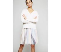 Cashmere-Pullover Weiß/Rosa