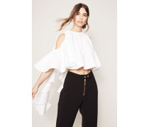 Bluse 'Baby Cropped Ruffle Top' Weiß