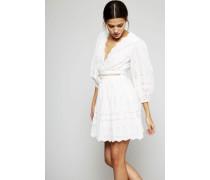 Baumwoll-Spitzen-Kleid 'Kali Broiderie Dress' Weiß