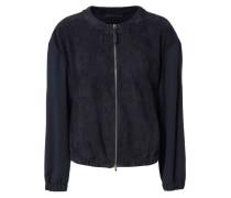 Leder-Jacke mit Woll-Ärmeln Dunkelblau