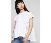 T-Shirt mit rückseitigem Spitzen-Detail Weiß
