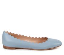 Leder-Ballerina mit Muschelsaum Fadded Blue