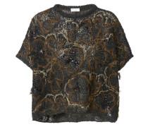 Lässiges Shirt mit Pailletten Schwarz/Gold