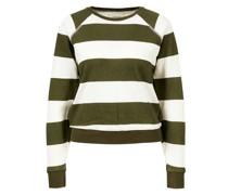 Baumwoll-Sweatshirt Grün/Weiß