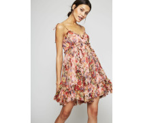 Seiden-Kleid 'Lovelorn Frill Mini Dress' Rosa/Multi