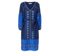 Seidenkleid 'Katya' mit Stickerein Blau