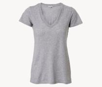 Basic-Shirt mit V-Ausschnitt Grau