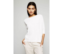 Cashmere-Baumwoll-Gemisch Pullover Weiß