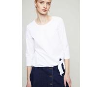 Baumwoll-Bluse mit Bindedetail Weiß