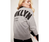 Sweatshirt mit Print 'Brooklyn' Grau