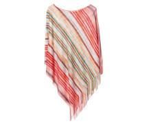 Leichter Poncho mit Streifen-Muster Rot/Multi
