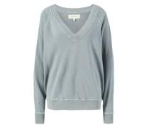 Baumwoll-Sweatshirt mit V-Ausschnitt