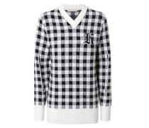 Karierter Pullover mit Logo-Emblem Schwarz/Weiß