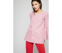 Gestreifte Bluse mit Glockenärmel Rot/Weiß