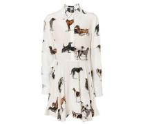 Hemdblusenkleid mit Hundeprint Weiß/Multi